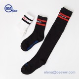 men's striped tube knee socks cotton mid calf over knee socks