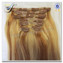 Wholesale high quality piano color remy clip in hair extension 100% virgin human hair