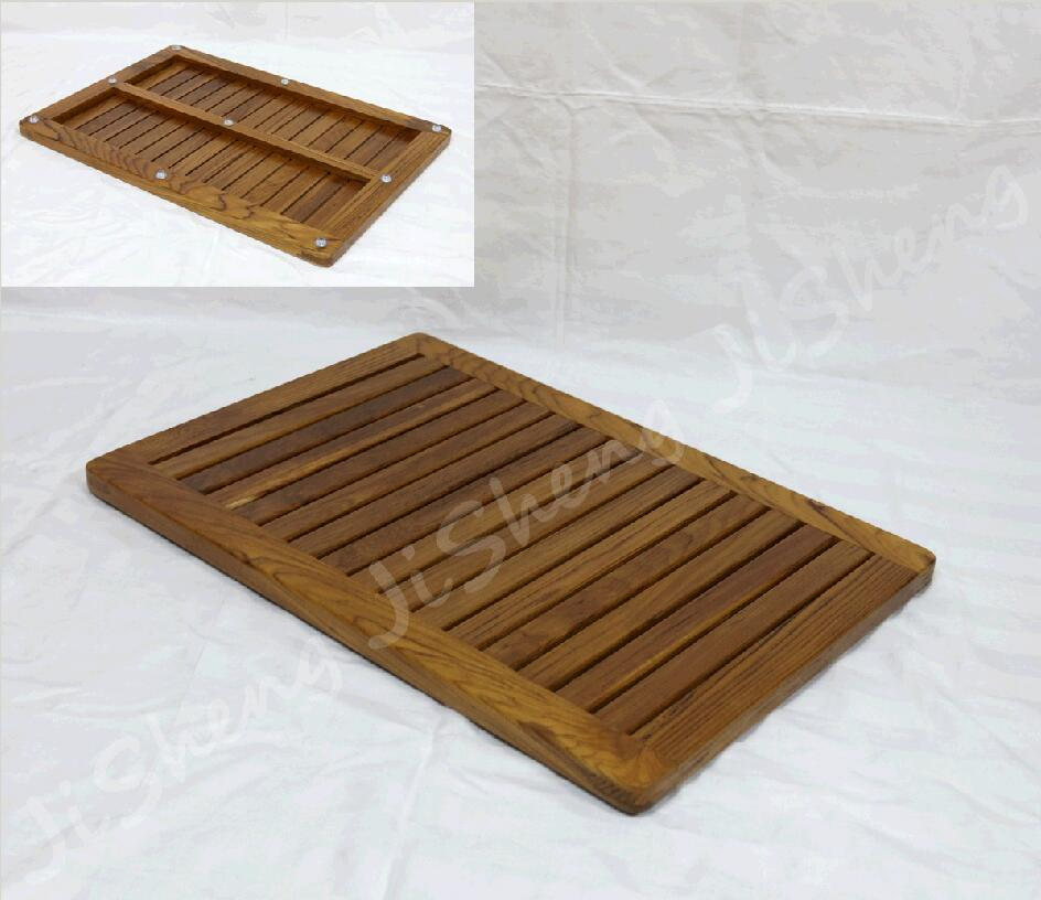 wood bath mat