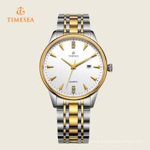 Homens de moda data de discagem de aço inoxidável relógio de quartzo analógico 72309