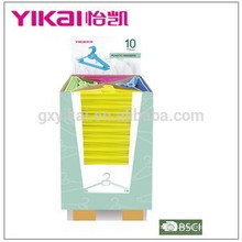 Supper market sale colorful plastic clothes hanger in display carton