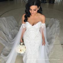 LL058 Auf Verkauf Romantisches langes Hochzeits-Kleid Robe de Mariee Boots-Ansatz-volle Hülsen sehen durch rückseitige Applique-Ballkleid-Gerichts-Zug