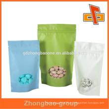 Eco amigable Doypack papel de arroz cremallera bolsa de cierre para el caramelo, snack de embalaje con ventana