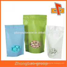 Eco friendly Doypack rice paper zip lock bag for candy ,snack packaging with window