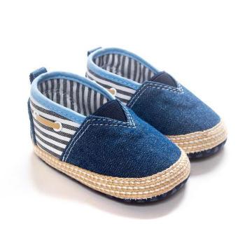 Zapatos negros extranjeros del bebé del dril de algodón Zapatos ocasionales del resbalón inferior suave