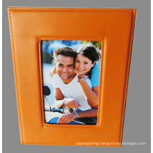 Customized Orange Leather Photo Frame with Embossed Logo