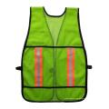 Green polyster malla de seguridad reflectante chaleco con cinta reflectante de advertencia