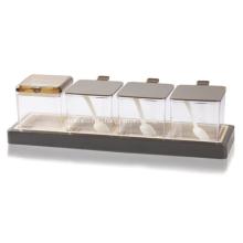 Пластиковая коробка для специй приправа шоколадного цвета