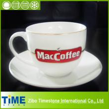 4pc 220cc Nouveau tasse en porcelaine blanche et ensemble de soucoupe