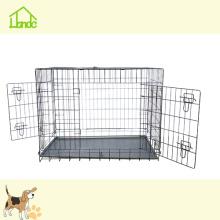 Черный Двойной Портативный Складной Дверь Прочная Клетка Для Собак Любимчика
