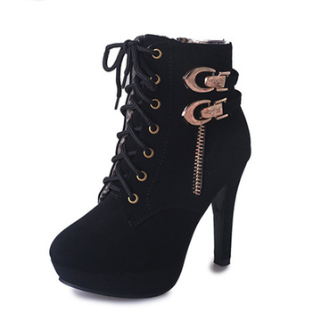 Sharp Toe Plush Suede Lace Up Women Boots
