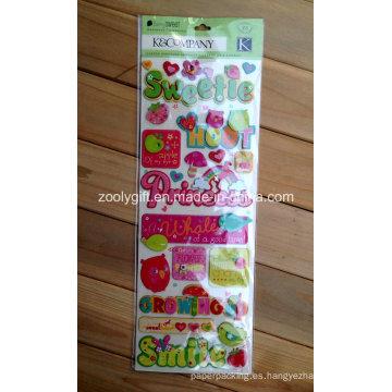 Etiquetas engomadas adhesivas 3D del arte del papel de Scrapbook de la muchacha rosada