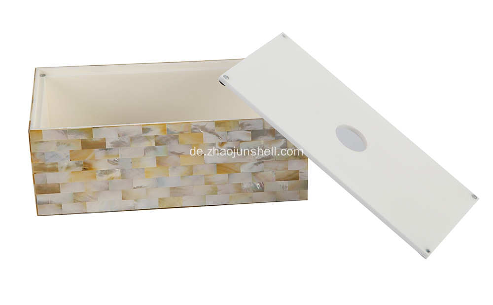 Handgemachte goldene Lip Shell Harz Tissue Box Cover