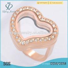 Engrenagem de venda superior e casamento de aço inoxidável coração flutuante jóia anel locket
