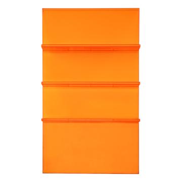 Librería moderna con escalera de acrílico naranja