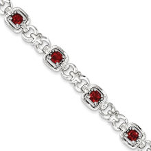 Steel Metal Bracelet with Red Crystal Stone