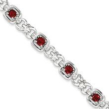 Pulseira de metal de aço com pedra de cristal vermelho