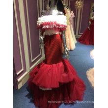 Sirena falda trompeta rojo largo vestido de noche de la boda