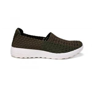 Casual Elastic Khaki Bandas Upper Woven Hollow Shoes