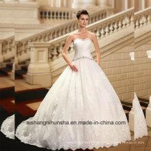 Einfache Falten Perlen Tull Ballkleid Brautkleid Wd002