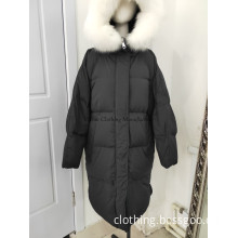 Black down middle coat with fur hood