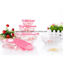 5PCS Glass Bowl Set with Pink Pig Decal