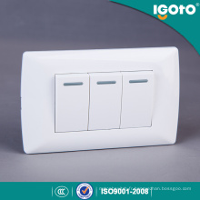 Igoto America Style Electrical 3 Gang 1 Way Switch avec Neon Light 3 Gang 2 Way Switch avec Neon Light