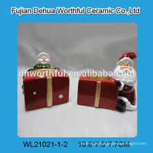 Ceramic christmas candle holder with santa / snowman for 2016 christmas gift