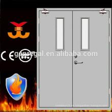 Puerta de acero de 2 hojas resistente al fuego con panel de visión