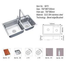 304 Stainless Steel Handmade Double Bowl Kitchen Sink Washing/Wash