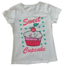Los modelos al por mayor de la muchacha de los niños embroman el diseño redondo Sgt-029 de la camiseta del cuello del algodón