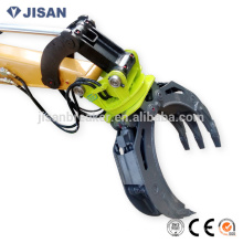 Hydraulic rotating log/stone grapple for excavator