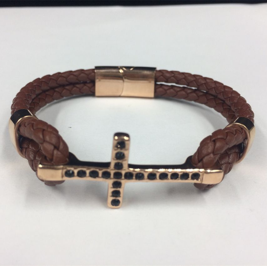 Hot Fashion Cross Stainless Steel With Leather Bracelet