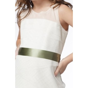 Sheath Column Round Neck Knee-length Taffeta Organza Layers Flower Girl Dress