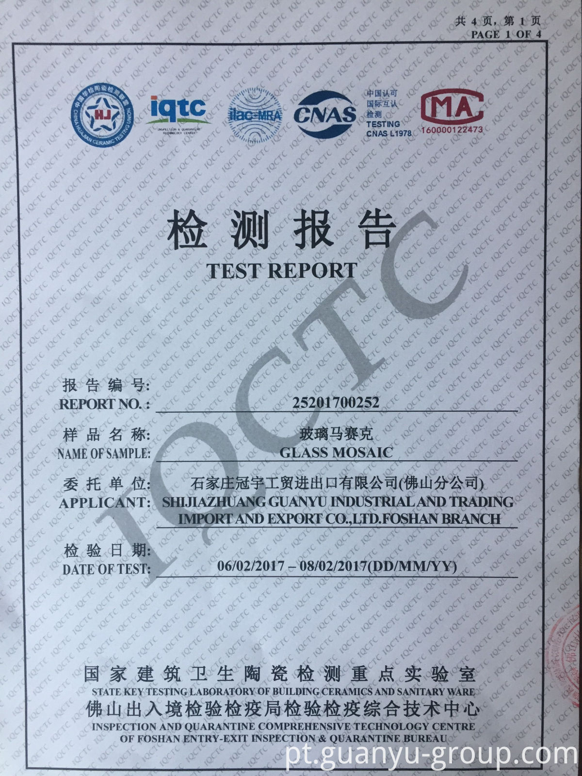 Guanyu Mosaic Test Report P1