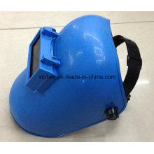 Marcas baratas de soldagem capacete com lentes, azul máscara de soldagem simples, máscara de materiais PP, sênior sombreamento nível soldagem lentes máscaras de soldagem