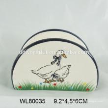 Hot sale tableware ceramic napkin holder with duck design