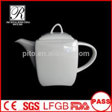 P&T porcelain factory wholesale tea pots, square shape pots, white color coffee pots