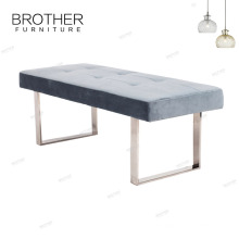 Upholstery living room furniture sofa long bench with metal legs