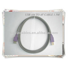 Alta calidad Gris 2.0 cable de extensión estándar USB Am a Af 1.5m
