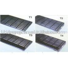 Escalier de grille, bande de roulement en acier, échelon