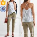 Кружева-up полосатый шелк крепдешин камзол Производство Оптовая продажа женской одежды (TA4095B)