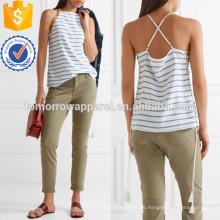 Lace-up Striped Seide Crepe De Chine Leibchen Herstellung Großhandel Mode Frauen Bekleidung (TA4095B)