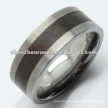 Classic Men 's anel de carboneto de tungstênio com incrustações de madeira