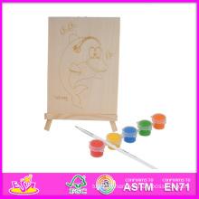 2014 New Play enfants en bois jouet de peinture, populaire bricolage enfants jouer peinture jouet, vente chaude éducatif bébé peinture jouet ensemble W03A045