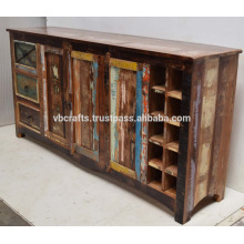 Recycled Wooden Sideboard with Wine Rack