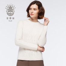Wanita Cashmere Crew Neck Handknitted Sweater