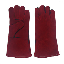 Red Cowhide Split Leather Industrial Hand Safety Welding Work Gloves