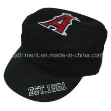 Gewaschener Druck Raw Edge Applique Stickerei Military Cap Hut (TRM019)