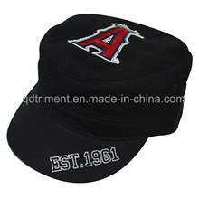 Washed Print Raw Edge Applique Embroidery Military Cap Hat (TRM019)